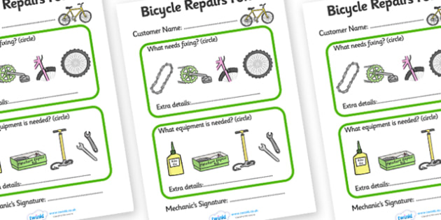 Bicycle Repair Shop Repairs Form - Bike repair, bicycle, bikes, repairs form, transport, role play, wheels, tyres, bikes, bike role play, fix, repair