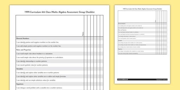 1999 Curriculum 6th Class Maths Algebra Assessment Group Checklist - roi, gaeilge, ireland, republic of ireland