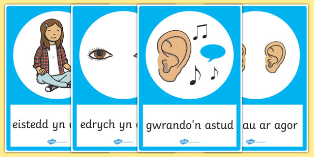Posteri Gwrando'n Astud - welsh, cymraeg, good listening, posters, display