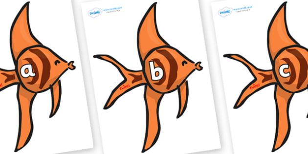 Phase 2 Phonemes on Angel Fish - Phonemes, phoneme, Phase 2, Phase two, Foundation, Literacy, Letters and Sounds, DfES, display