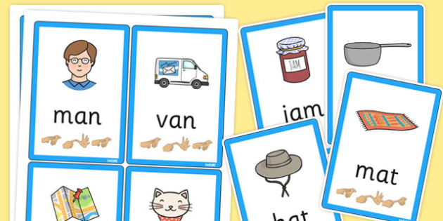 CVC Flash Cards with British Sign Language 'a' - flashcards, sign