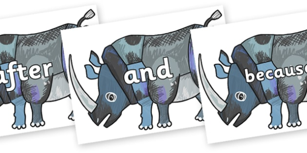 Connectives on Rhinoceros to Support Teaching on The Bad Tempered Ladybird - Connectives, VCOP, connective resources, connectives display words, connective displays
