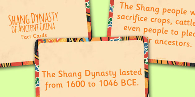 The Shang Dynasty of Ancient China Display Fact Cards - China