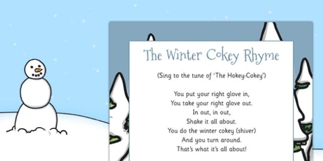 The Winter Cokey Rhyme - winter cokey, rhyme, winter, cokey, eyfs