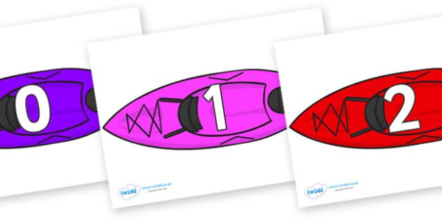 Numbers 0-31 on Canoes - 0-31, foundation stage numeracy, Number recognition, Number flashcards, counting, number frieze, Display numbers, number posters