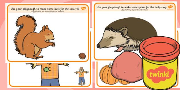 Autumn Playdough Mats Polish Translation - polish, autumn, playdough mats, mats
