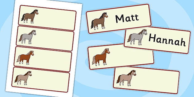 Horses and Ponies Drawer Peg Name Labels Editable - horses, label