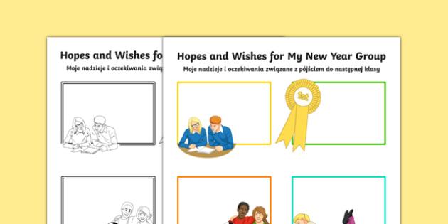 Hopes and My New Year Group Secondary SEN Activity Sheet Polish Translation - Transition Handover Sheets, primary, secondary, ks2, ks3, new year, end of year, Polish, translation, mfl, eal, SEN, worksheet