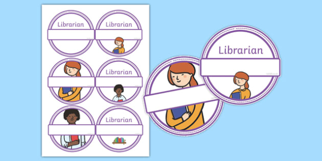 Librarian Role Play Badges - library, roleplay, props, reading