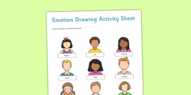 Emotion Drawing Activity Sheet - emotion, drawing, activity, sheet, draw, feelings, worksheet