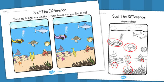 Under the Sea Spot the Difference Activity - games, activities