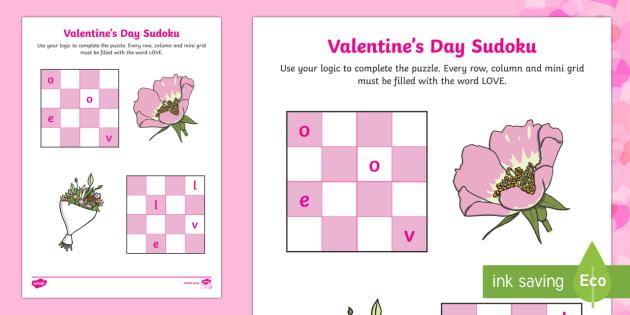 Valentine's Day Sudoku Activity - Valentine's Day, Feb 14th, love, cupid, hearts, valentine, sudoku, love