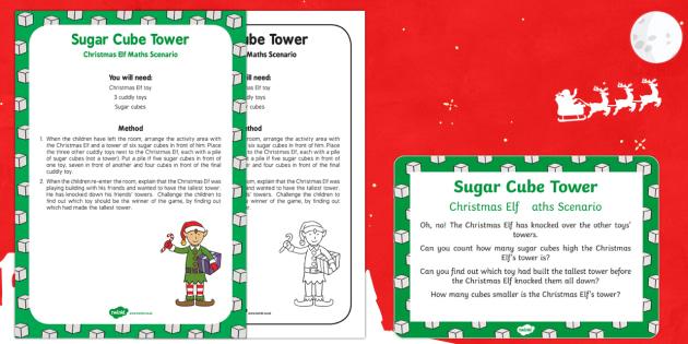 Sugar Cube Tower Christmas Elf Maths Scenario
