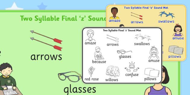 Two Syllable Final 'Z' Sound Word Mat 2 - final z sound, z sound