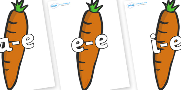 Modifying E Letters on Carrots - Modifying E, letters, modify, Phase 5, Phase five, alternative spellings for phonemes, DfES letters and Sounds