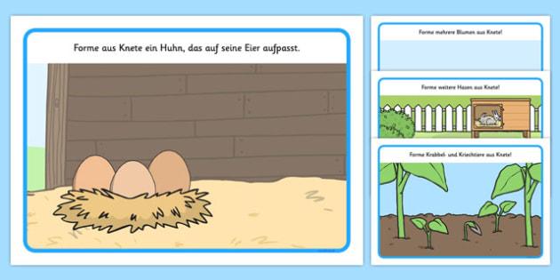 Spring Playdough Mats German - german, spring, playdough mat, spring playdough mat, spring playdough, weather and seasons, seasons, playdough, play dough, play doh