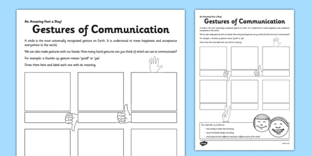 Gestures of Communication Activity Sheet - gestures, communication, hand, fact of the day, activity, worksheet