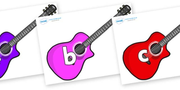 Phase 2 Phonemes on Guitars - Phonemes, phoneme, Phase 2, Phase two, Foundation, Literacy, Letters and Sounds, DfES, display