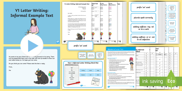 Y1 Letter Writing: Informal  Example Text - Example Texts Y1, Letter Writing, Informal letter, exemplification, WAGOLL, exemplification, moderat