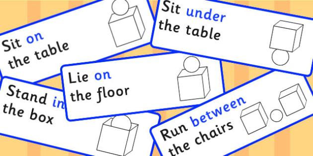 Preposition Symbol Instructions - SEN, visual aid, position, game, prepositions