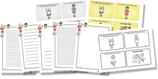 Mondays Child Resource Pack - mondays child, resource pack, resources, pack of resources, themed resource pack, lesson ideas, mondays child resources