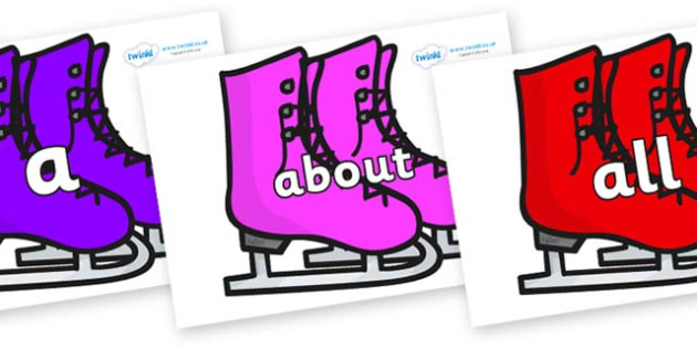 100 High Frequency Words on Ice Skates - High frequency words, hfw, DfES Letters and Sounds, Letters and Sounds, display words