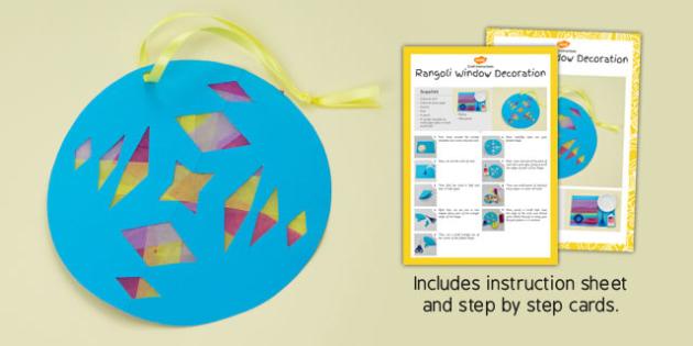 Window Decoration Rangoli Pattern Craft Instructions - window, decoration, rangoli, pattern, craft, instructions