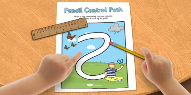 Spring Pencil Control Path Worksheet - spring, control path