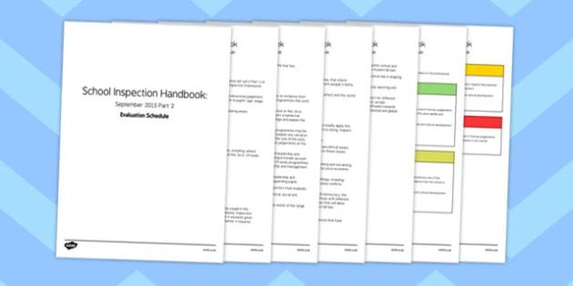 Schools Inspection Handbook September 2015 Part 2 Evaluation Schedule - slt, smt, progressm assessment, data, sip, school, improvement, plan, record, organisation, information, record, discuss, present