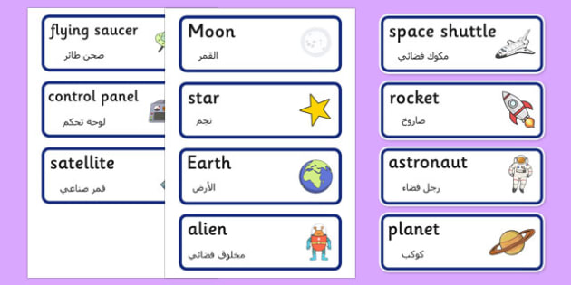 Spaceship Word Cards Arabic Translation - arabic, Space Ship Role Play Pack, space, Word cards, Word Card, flashcard, flashcards, rocket, space ship, alien, moon, astronaut, space log, stars, planets, role play, display, poster