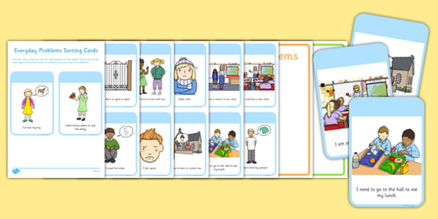 EYFS Everyday Problems Sorting Cards - EYFS, PSED, Personal, Social, Emotional Development, feelings, emotions