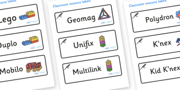 Magpie Themed Editable Construction Area Resource Labels - Themed Construction resource labels, Label template, Resource Label, Name Labels, Editable Labels, Drawer Labels, KS1 Labels, Foundation Labels, Foundation Stage Labels