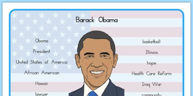 Barack Obama Word Mat - usa, barack obama, word mat, word, mat, president, us president, america