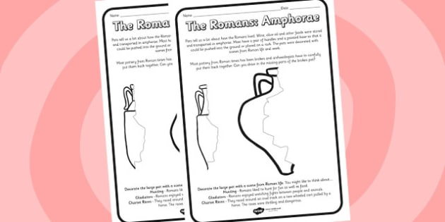Roman Amphorae Worksheets - romans, amphorae, worksheets, roman