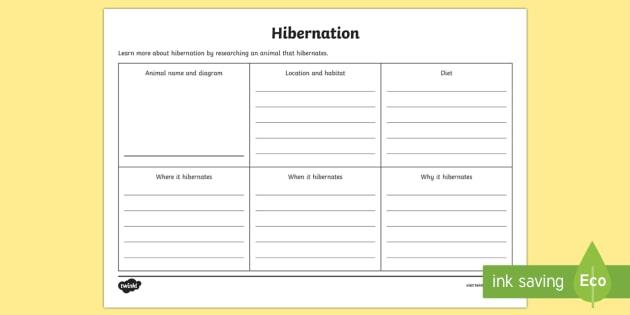 Animal Hibernation Research Activity Sheet - hibernation, hibernate, animal hibernation, hibernation research, hibernation writing ,Australia