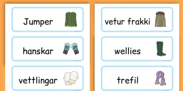 Winter Clothes Word Cards - winter clothes, word cards, winter, clothes - Icelandic