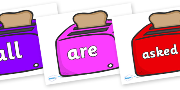 Tricky Words on Toasters - Tricky words, DfES Letters and Sounds, Letters and sounds, display, words