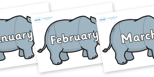 Months of the Year on Rhinos - Months of the Year, Months poster, Months display, display, poster, frieze, Months, month, January, February, March, April, May, June, July, August, September