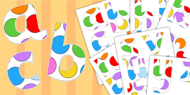 Paper Saving Multicoloured Polka Dot Display Alphabet Numbers