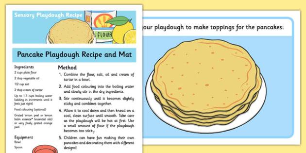 Pancake Playdough Recipe and Mat - pancake, playdough, mat, recipe, sensory