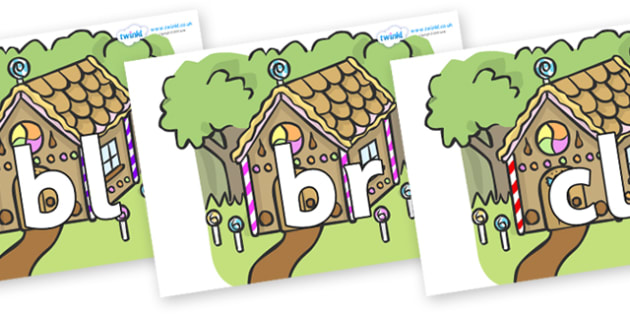 Initial Letter Blends on Gingerbread House - Initial Letters, initial letter, letter blend, letter blends, consonant, consonants, digraph, trigraph, literacy, alphabet, letters, foundation stage literacy