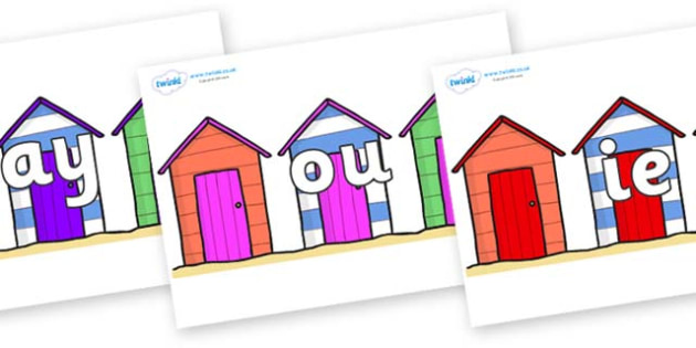 Phase 5 Phonemes on Beach Huts - Phonemes, phoneme, Phase 5, Phase five, Foundation, Literacy, Letters and Sounds, DfES, display