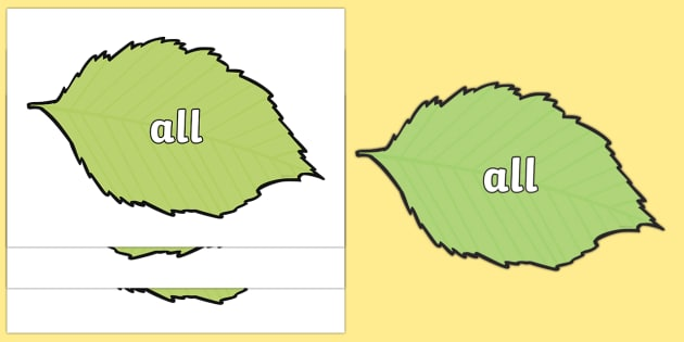 100 High Frequency Words on Spring Leaves - High frequency words, hfw, DfES Letters and Sounds, Letters and Sounds, display words