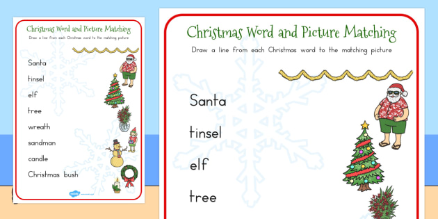 Christmas Word and Picture Matching Activity - australia, match