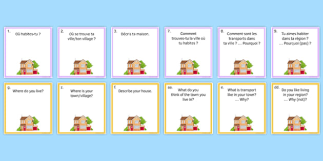 General Conversation Question Pair Cards Home Town Neighbourhood and Region - french, Conversation, Speaking, Questions, Home, House, Maison, Town, Ville, Village, Region, Neighbourhood, Cards, Cartes