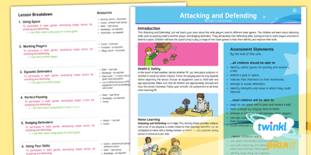 PlanIt - PE Year 1 - Attacking and Defending Planning Overview - Attacking and Defending, team, game, PE, physical, education, year 1, y1, ks1, key, stage, 1 , one,