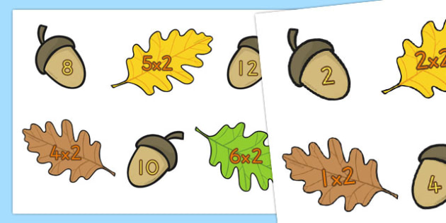 Acorn Times Tables Cards x2 - australia, acorn, times tables, cards