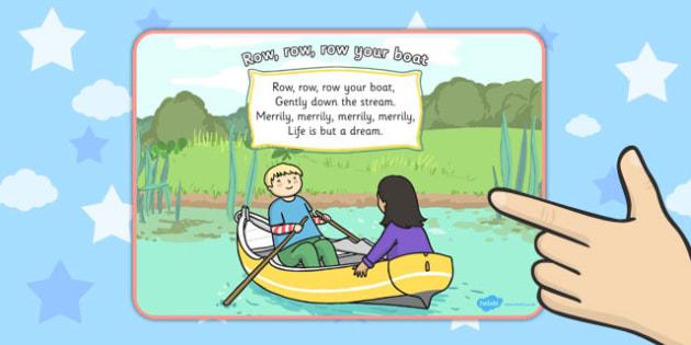 Row Row Row Your Boat Nursery Rhyme Display Poster - displays
