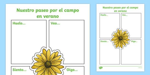 Our Summer Nature Walk Spanish Writing Activity Sheet, worksheet
