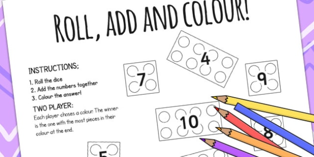 Building Bricks Roll And Colour Worksheet - dice games, games, Building Bricks, toys